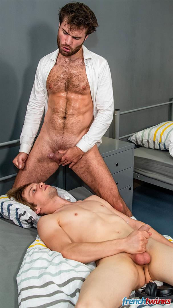French-Twinks-Justin-Leroy-and-Doryann-Marguet-Getting-Fucked-In-The-Ass-By-Hairy-Older-Man-35 French Twink Gets Fucked In The Ass By A Hairy Older Man With A Big Uncut Cock